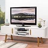 amzdeal Fernsehtisch Weiß Holz, TV Schrank TV Tisch TV...